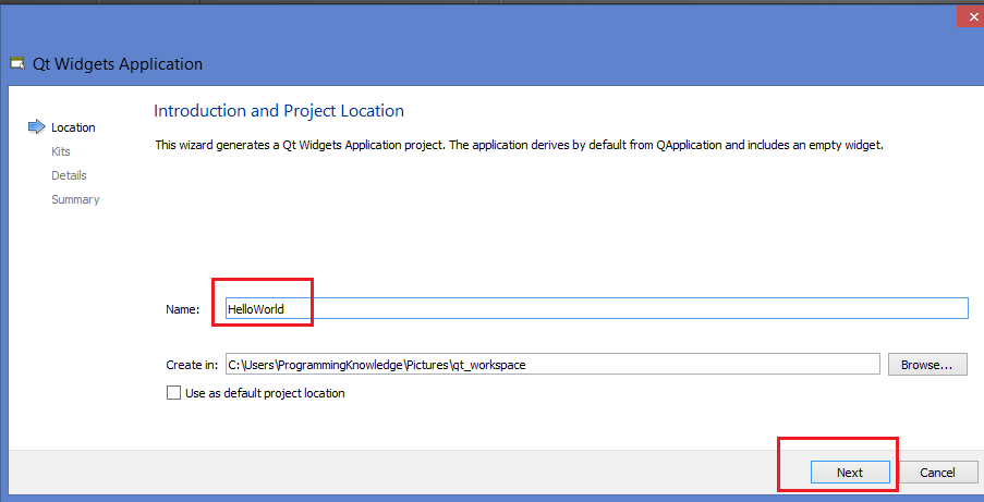 Step 3 - Give name to your project and Click next