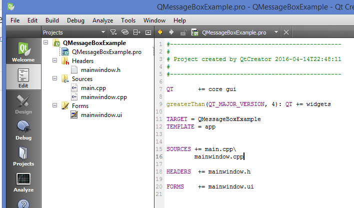 QMessageBox Example Project Structure