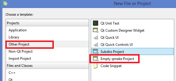 Step 2 - Select Other Project and Click Empty qmake Project