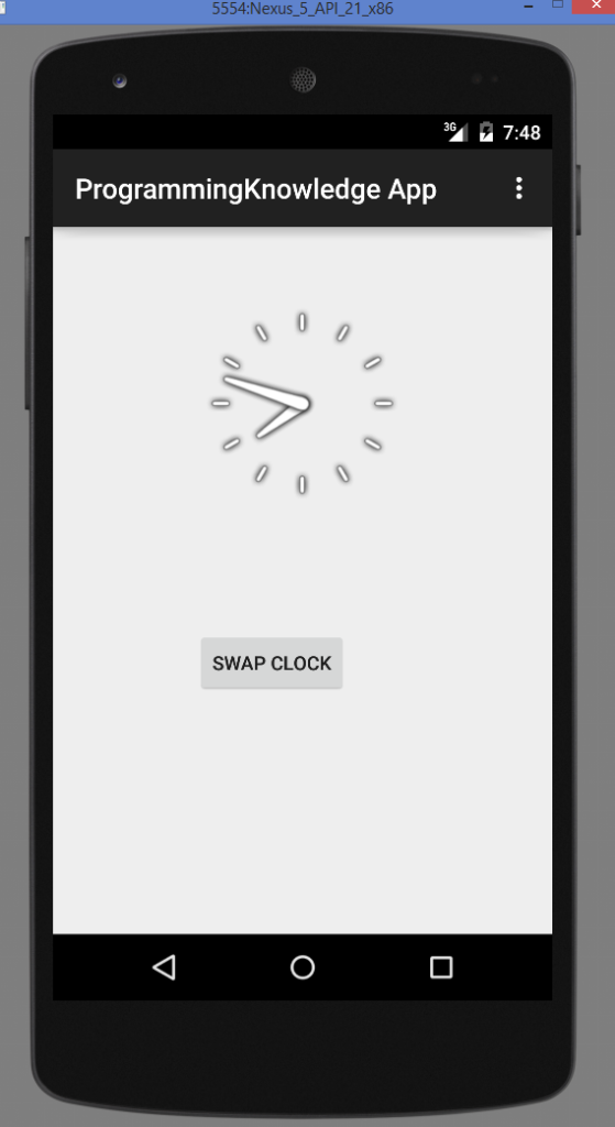 Android Analogclock And Digitalclock output 1