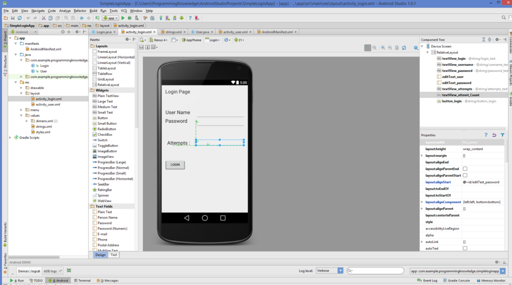 Android Studio - Android Login Screen Example