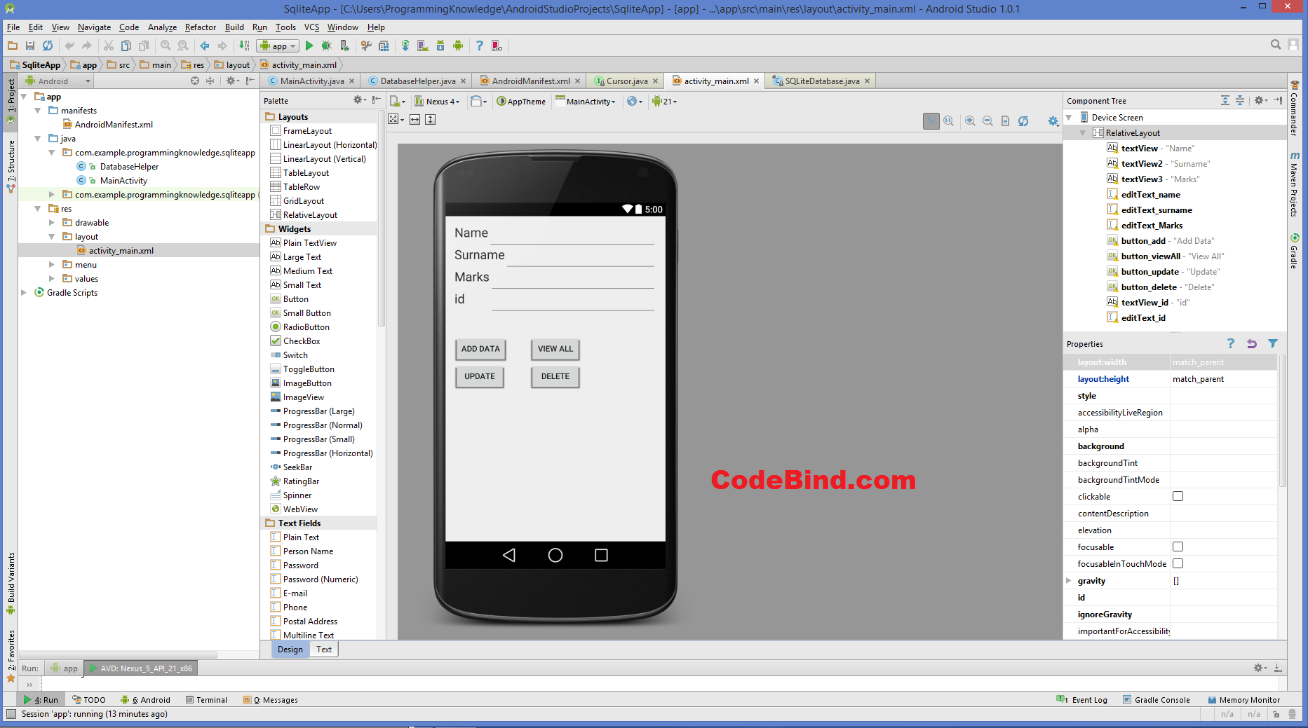 Android SQLite Database Tutorial. Design Activity