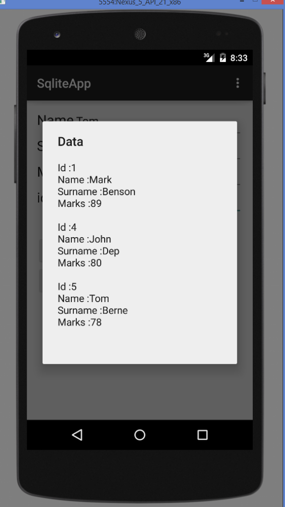 Android SQLite Database Tutorial. View Data
