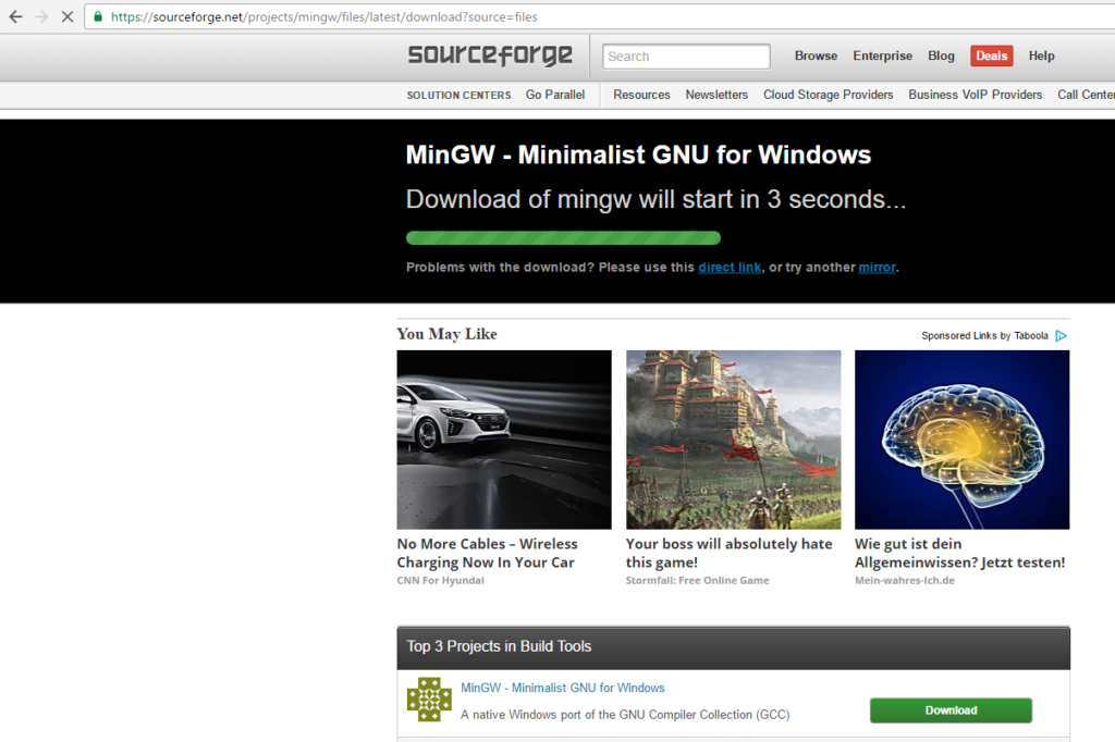 mingw download page