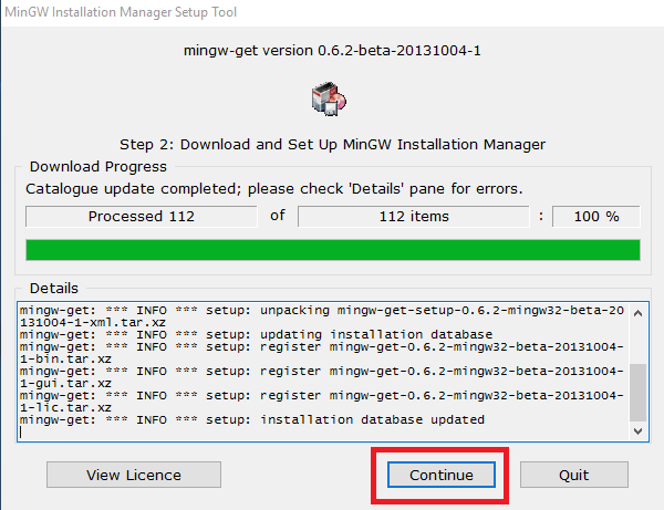 mingw-on-installation-setup-complete-click continue