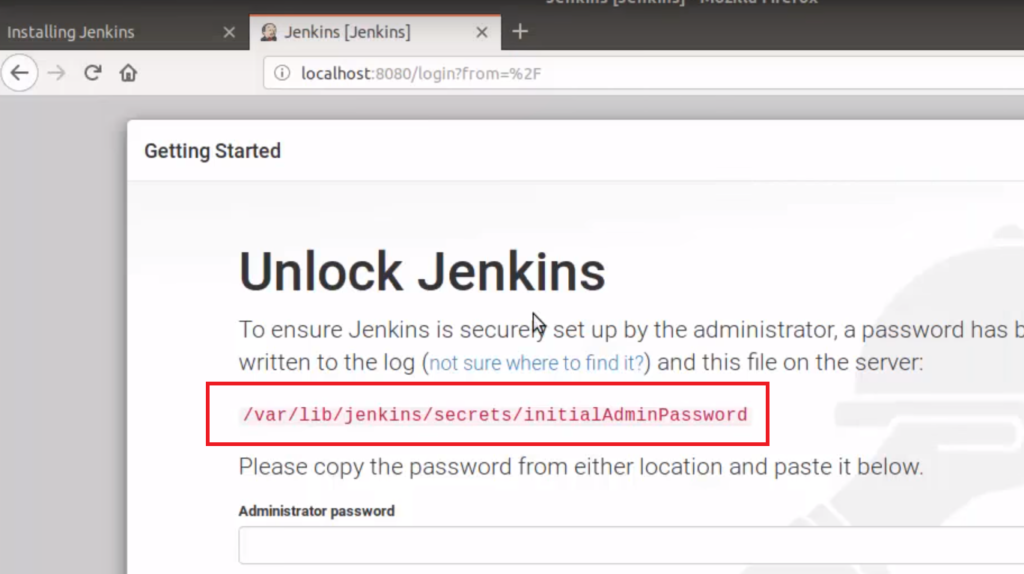 Jenkins initial password